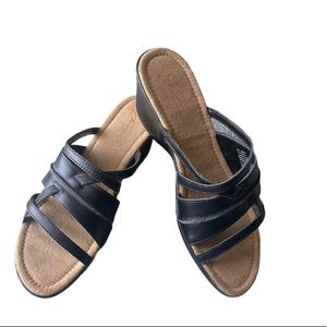 NW'OUTTag- JESSICA WEEKEND BLACK WEDGE SANDLES 8